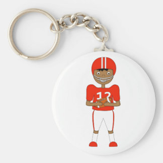 Cute Cartoon American Football Player in Red Kit Key Chains