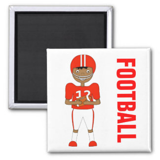 Cute Cartoon American Football Player in Red Kit Magnet