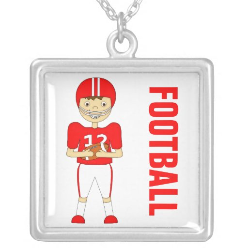 Cute Cartoon American Football Player in Red Kit Personalized Necklace
