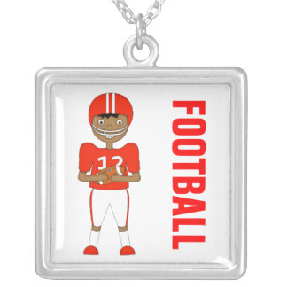 Cute Cartoon American Football Player in Red Kit Square Pendant Necklace