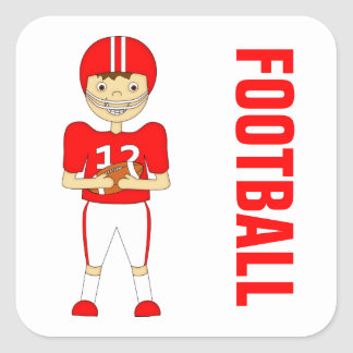 Cute Cartoon American Football Player in Red Kit Square Sticker