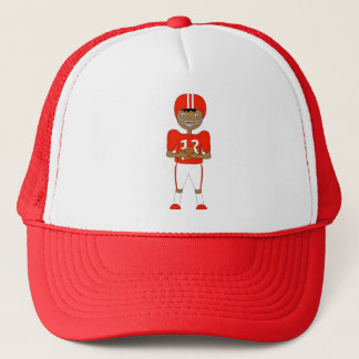 Cute Cartoon American Football Player in Red Kit Trucker Hat