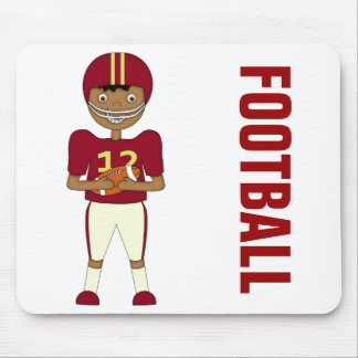 Cute Cartoon American Football Player Maroon Kit Mouse Pad