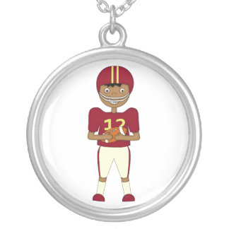 Cute Cartoon American Football Player Maroon Kit Silver Plated Necklace