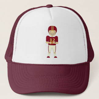 Cute Cartoon American Football Player Maroon Kit Trucker Hat