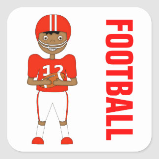 Cute Cartoon American Football Player Red Kit Square Sticker