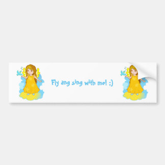 Cute cartoon angel on a cloud with a singing bird. bumper sticker