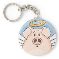 Cute Cartoon Angel Pig Keychain