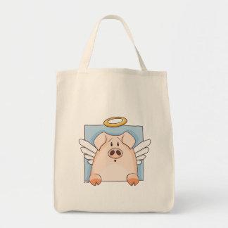 Cute Cartoon Angel Pig Tote Bag