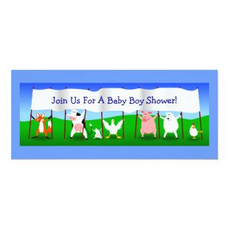 Cute Cartoon Animals Banner Baby Boy Shower Customized Invitation Cards