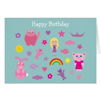 Cute cartoon animals Birthday card for girls