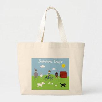 Cute Cartoon Animals Boy Riding Bike Canvas Bags