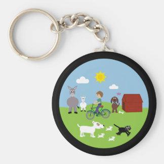 Cute Cartoon Animals & Boy Riding Bike Basic Round Button Keychain