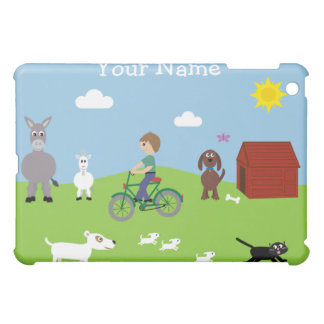 Cute Cartoon Animals, & Boy Riding Bike iPad Mini Cases