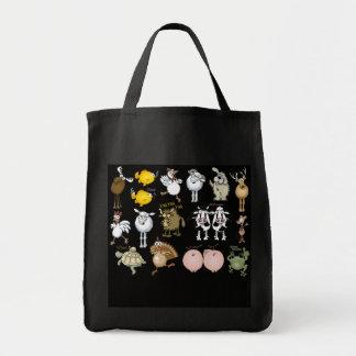 Cute cartoon animals on a tote bag.