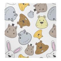 Cute Cartoon Animals Portrait Pattern Bandana