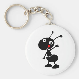 cute cartoon ant basic round button keychain