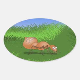 Cute Cartoon Ant Oval Sticker