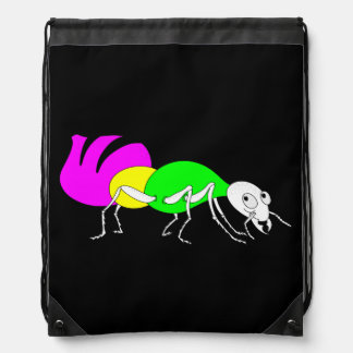 Cute Cartoon Ant With Bright Coloured Abdomen Drawstring Backpack