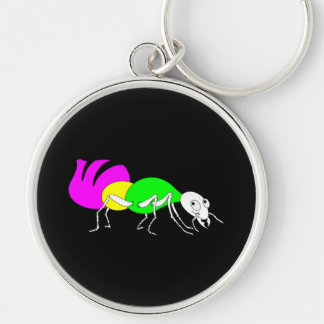 Cute Cartoon Ant With Bright Coloured Abdomen Silver-Colored Round Keychain