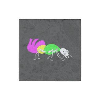 Cute Cartoon Ant With Bright Coloured Abdomen Stone Magnet