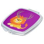 Cute Cartoon Antlered Lion Compact Mirror