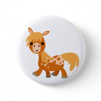 Cute Cartoon Appaloosa Pony Button Badge button