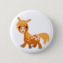 Cute Cartoon Appaloosa Pony Button Badge