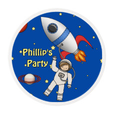 Cute Cartoon Astronaut Personalized Birthday Party Edible Frosting Rounds