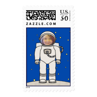 Cute Cartoon Astronaut Photo Costume Template Postage