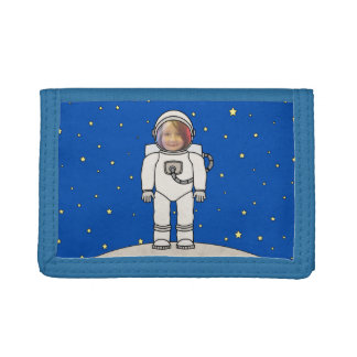 Cute Cartoon Astronaut Photo Costume Template Trifold Wallet