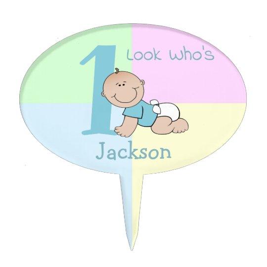 Cute Cartoon Baby Boy 1st Birthday Cake Topper