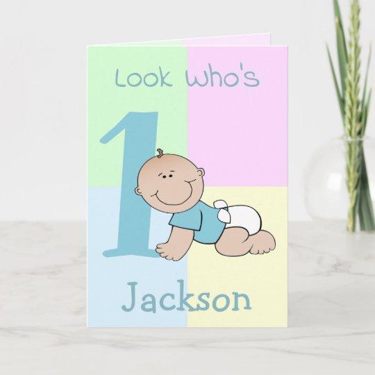 Cute Cartoon Baby Boy 1st Birthday Card Zazzle