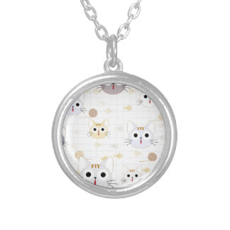 Cute cartoon baby cat kitty kitten charactor funny silver plated necklace