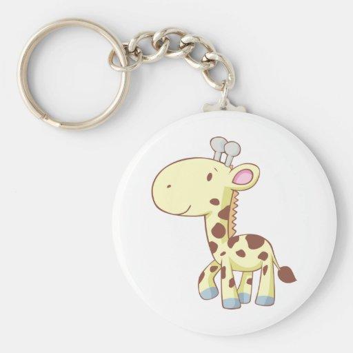 Cute Cartoon Baby Giraffe Shirts Basic Round Button Keychain