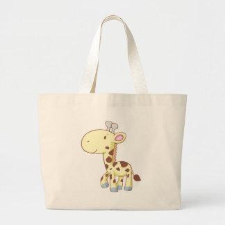 Cute Cartoon Baby Giraffe Shirts Large Tote Bag