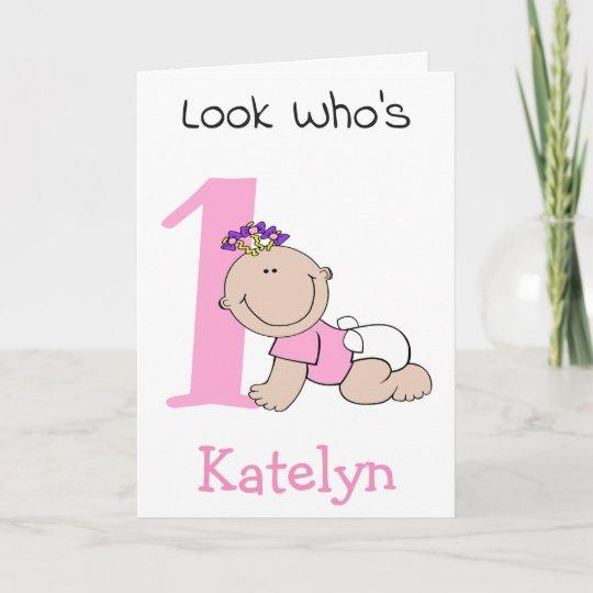 Cute Cartoon Baby Girl 1st Birthday Card Zazzle