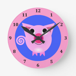 Cute Cartoon Baby Girl Pig Curly Tail Pink Blue Round Clock