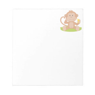Cute Cartoon Baby Monkey Sitting and Eating Banana Scratch Pads