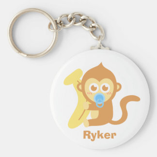 Cute Cartoon Baby Monkey with Banana Basic Round Button Keychain