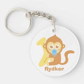 Cute Cartoon Baby Monkey with Banana Double-Sided Round Acrylic Keychain
