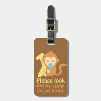 Cute Cartoon Baby Monkey with Banana Luggage Tag