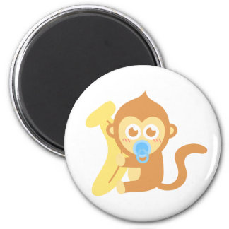 Cute Cartoon Baby Monkey with Banana Magnet