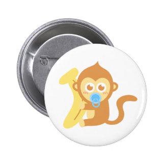 Cute Cartoon Baby Monkey with Banana Pinback Button
