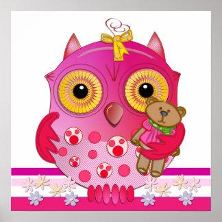 Cute Cartoon Baby Owl poster with Bear