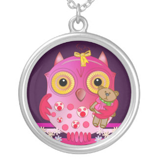 Cute cartoon Baby Owl with bear necklace