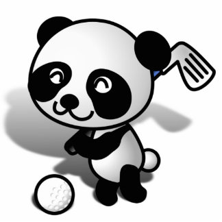 Cute Cartoon Baby Panda Bear Golfing Cutout
