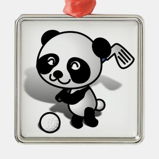 Cute Cartoon Baby Panda Bear Golfing Christmas Ornament