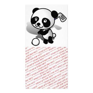 Cute Cartoon Baby Panda Bear Golfing Photo Card Template