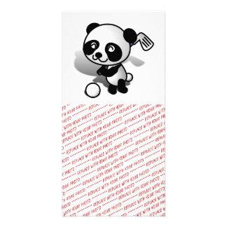 Cute Cartoon Baby Panda Bear Golfing Personalized Photo Card